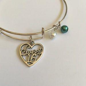 Jewelry - NWOT Blue Sweet 16 Expandable Charm Bracelet
